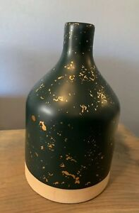 """NEW Hearth & Hand With Magnolia Speckled Stoneware Jug Vase Blue Teal W/ Gold 9"""""""