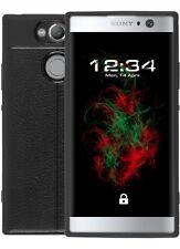 Funda Acabado en Piel para Sony Xperia XA2 Negro Cubierta de Movil