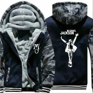 Michael Jackson Winter Fleece Zip Thicken Men Hoodie Sweatshirts Outerwear @