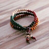 108 Beads 6mm Natural Buddhist Buddha Prayer Round Bracelet Mala Colorful Gifts