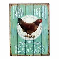Farm Fresh Free Range Eggs Retro Vintage Tin Metal Bar Sign Country Home Decor