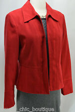 Conrad C Red Faux Suede Leather Lightweight Jacket Coat Blazer Zip womens 6 NEW