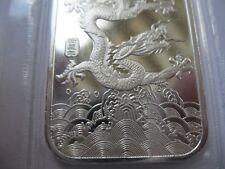 1-OZ..999 PURE SILVER CHINA YEAR OF THE DRAGON BULLION BAR 2016 $ CRASH INS+GOLD