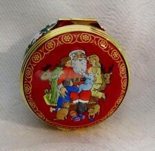 2002 Halcyon Days Christmas Trinket Box; Santa with Children & Pets Free Ship