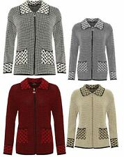 Womens Zip Up Front Pocket Collar Jacket Ladies Long Sleeve Knitted Cardigan Top