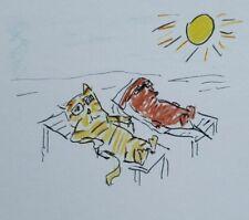 Cat and Dachsund Sunning Print by Ehren Snyder