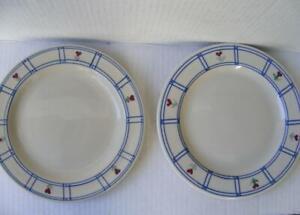 "Hartstone Pottery 7.5"" Salad Plate 2 Windowpane Posy Hearts Flowers Two Vtg USA"