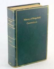 Leather Binding 1927 History Of Ridgefield Connecticut George Rockwell Genealogy