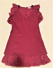 Pinko Burgundy Short Dress Ruffled Chiffon Sleeve Size 40 ITL / 4 US Preowned