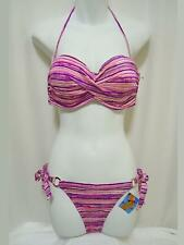 """Very Sexy"" 2pc Swim Set, Med. 34C & XS, Remv. Padding, Pink/Violet Stripes"
