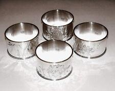 Set of 4 Japanese Sterling Silver Napkin Rings 950 Brite Cut