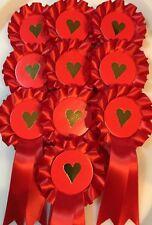 10 X 1 Tier Mini Heart Rosettes *FREE 1st Class POSTAGE*