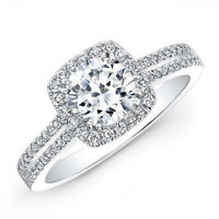 1.45 Ct Round Cut Real Diamond Engagement Ring 14K Solid White Gold Size 7 6 5.5