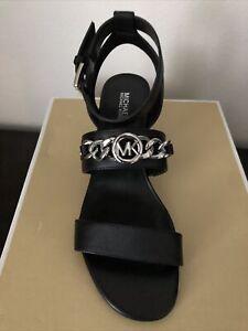 NIB $125 Michael Kors Roxane Black Flex Embellished Leather Sandals Sz 6.5M
