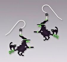Sienna Sky Flying WITCH w/ CAT on Broom EARRINGS STERLING Silver Halloween Fall