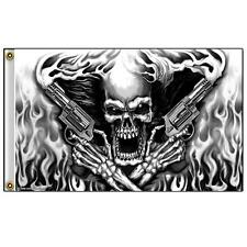 Skeleton W Twin Smoke Hand Guns 3 X 5 Motorcycle Biker Flag #352 New 5X3 Feet