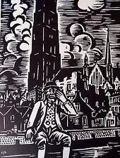 FRANS MASEREEL (1889-1972) WOODCUT - SAD MAN - LISTED BELGIAN
