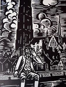 FRANS MASEREEL (1889-1972) WOODCUT - SAD MAN - LISTED BELGIAN