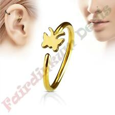 316L Surgical Steel Gold Ion Plated Nose & Ear Cartilage Ring with Butterfly