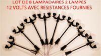 JOUEF LIMA ROCO Lot 8 Lampadaires De Ville A Led 2 lampes  Ho 1/87  70  mm 12v