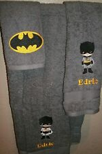 Batman Boy Personalized 3 Piece Bath Towel Set  Super Hero Your Color Choice