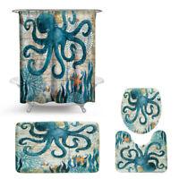 Bathroom Shower waterproof Curtain Octopus 3D Print Polyester Bath Curtain Set q