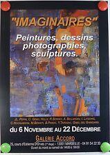 """Galerie Accord """"IMAGINAIRES"""" exposition de peinture dessin AFFICHE ORIGINALE/2PB"""