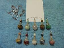 10 Lovely Handcrafted Genuine Gemstone Bead PENDANTS Reiki Stainless Steel Chain