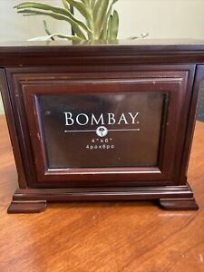 "Vintage Bombay Company Wooden Photo Box Storage Box 4""x6"""