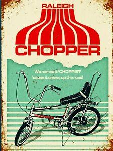 RALEIGH CHOPPER BIKE garage  Retro man cave bar Metal wall decor Sign Plaque 70s