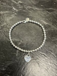 Tiffany & Co. Sterling Silver 925 Return to Heart Tag Round Ball Bead Bracelet
