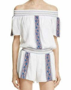 PARKER $242 White Embroidered Gauzy Off The Shoulder Romper Medium NWT