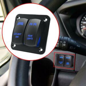 ABS Black Rocker Switch Panel Blue LED Light Bar & Rear Light 12v/24v Universal