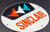 "VINTAGE SINCLAIR ADVERTISING PORCELAIN SIGN 12"" GAS & OIL PUMP PLATE CAR FUEL"