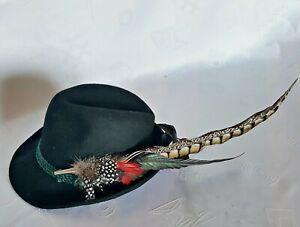 VINTAGE AUTHENTIC OKTOBERFEST DIRNDL TYROL BLACK MEN'S FEDORA HAT:US6 3/4/EU54