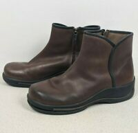 Dansko Women's Ankle Clog Boots Lace Up Brown Leather Sz 40 (9.5-10) Zip Side