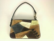 EUC  $78 COACH Signature Patchwork Suede Brown/Blue Wristlet Wallet Mini Purse **