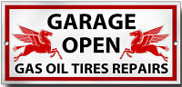 GARAGE OPEN METAL SIGN.200MM X 95MM PREMIUM QUALITY SIGN.MOBILGAS
