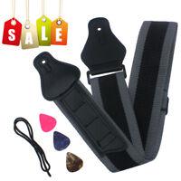 Fashion Guitar Strap Nylon Holder + Guitar Picks x3 For Electric Acoustic Guitar