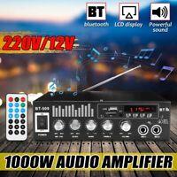 1000W Car Stereo Audio Power Amplifier bluetooth Bass Subwoofer AMP FM Radio