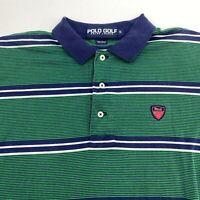 Polo Golf Ralph Lauren Polo Shirt Men's Small Short Sleeve Green Striped Cotton