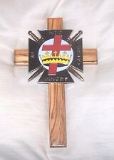 Medieval Holy Land Crusades Knights Templar Olive Wood Cross Symbol Masonic Wall