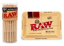 RAW Classic Lean Size Cones (50 Pack) with RAW Mini Metal Tray