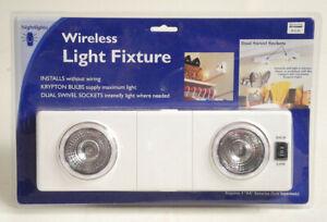 Wireless Light Fixture Dual Swiveling Lamps