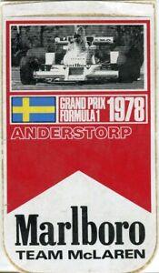 Swedish GP 1978 Anderstorp Marlboro original sticker autocollant adhesivo unused