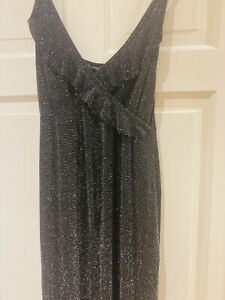 Boohoo Size 12 Culottes  Black And Silver Jumpsuit