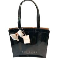 Ted Baker White Side Bow Large Black Shopper Icon Bag PVC Plastic