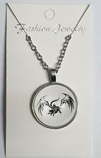 Dragon flying Art Crystal Glass Pendant Necklace Jewelry Gift Bag - Silver