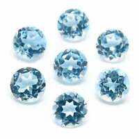 NATURAL BLUE TOPAZ 7 MM ROUND CUT FACETED UNTREATED AAA LOOSE GEMSTONE LOT