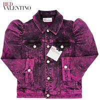 Red Valentino Womens Denim Jean Jacket Retails $750 Pink Acid Wash 42 IT 6 US